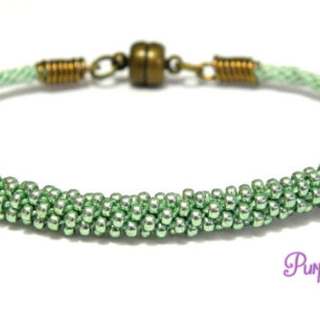 MAGNOLIA Beaded Kumihimo Bracelet, Braided Rope Bracelet with Seed Beads - Sea green