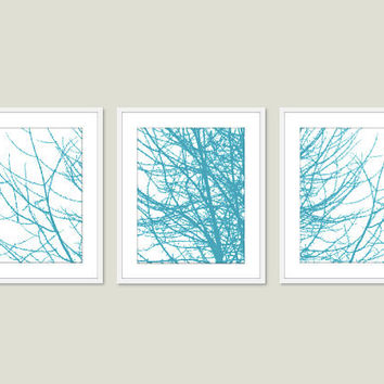Modern Tree Branches Digital Print Set - Blue Turquoise - Rustic Woodland Home Decor - Wall Art Home Decor - Spring Summer