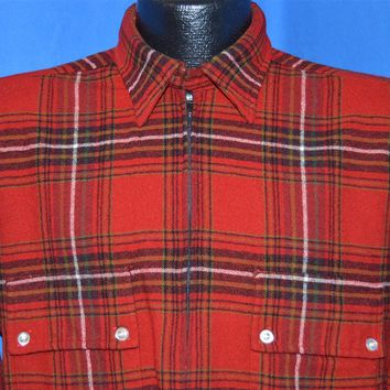 50s Red Plaid Wool Pullover shirt Large