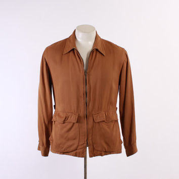 50s Nutmeg Brown GABARDINE Hollywood JACKET / 1950s Men's Gab Rockabilly Lightweight Zip Buckle Coat