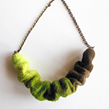 Felted necklace  pendant necklace, hand felted  felt, brown, green, chain necklace