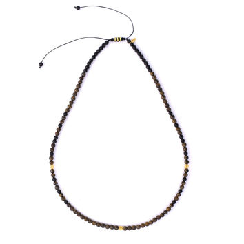 18 K Gold - Bronzite and matte Onyx stone macrame necklace (KN11)