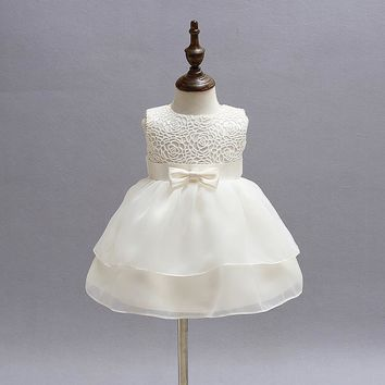 Vintage Lace Baby Girl Wedding Pageant Dress Infant Princess Little Girls 1 Year Birthday Party Dress Newborn Christening Gowns