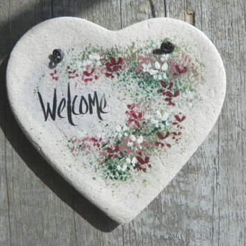 Welcome Heart Decor Salt Dough Ornament Wall Kitchen Decor