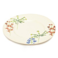 Flowers of Liberty Floral Stenciled Ceramic Side Plate