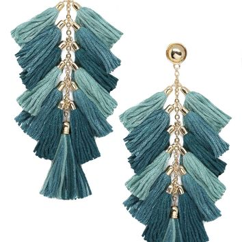 Time to Tassel Earrings in Turquoise and Gold