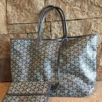 St Louis Goyard Grey GM Chevron Tote Bag