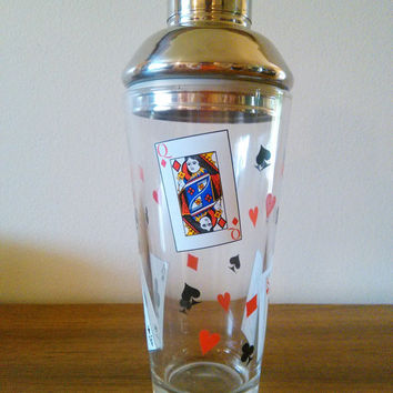 Vintage Martini Shaker Luminarc Card Party Glass Cocktail Shaker Playing Cards Barware Poker Cocktail Set Rat Pack The Hour Vintage Barware