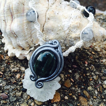 CHALCEDONY Pendant, SERAPHINITE NECKLACE, Seraphinite Jewelry, Seraphinite, Seraphinite pendant, Tourmaline, raw crystal Necklace