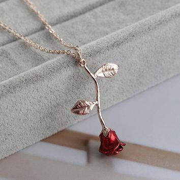 Delicate Handmade Alloy Red Rose Flower Pendant Necklace Valentine Gifts Women
