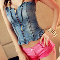 Uget Newest three Size Blue Denim Wrapped Chest V-Neck Sexy Women Strapless Tops Bandage zipper Vest Jeans