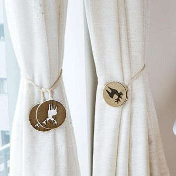 Cartoon Cute Elk Magnet  Curtain Tieback Holder Buckle Hook  Window Curtain Clasps Belt  Furniture Home Decor Accessories