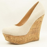 Cork Wedge Heel Fabric Women's Shoes, Platforms 5.5-10US/36-41EU/3.5-8AU