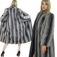 Faux fur coat Vintage 80s plush dress coat  gray stripe faux fur coat full length long pile coat glam Sz 14