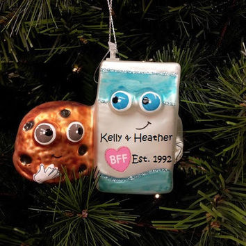 BFF Holiday Ornamanets, Bacon Ornament, Milk & Cookies Ornament, Best Friend Ornament, We Go Together Like...