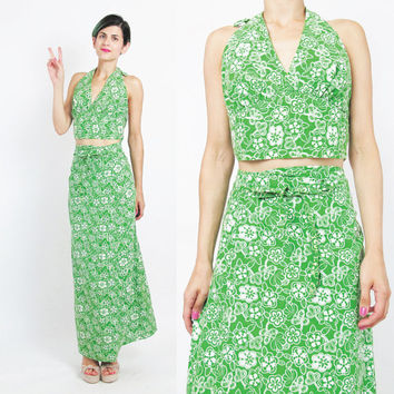1970s Matching Set Bright Green Floral Print Maxi Skirt Dress Wrap Skirt and Halter Top Two Piece Outfit Summer Hawaii Vacation Resort (S/M)