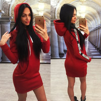 New 2016 Autumn and Winter Women Long Sleeve Dress Casual Hips Long Style Hoodie Dress Lady Bodycon Pencil Dress D488