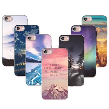 For iPhone 8 8Plus Soft TPU Case Cover For Apple iPhone 8 Plus Cases Phone Shell Tower Forest Ocean Mountain Landscape Scenery
