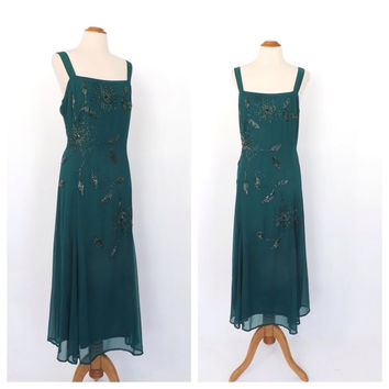 Size Large Vintage 90s does 1920s Flapper Dress Green Beaded Gown Formal Sundress Bias Cut 30s Maxi Dress Great Gatsby Art Deco Dress