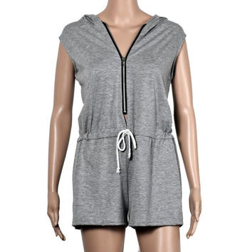 Casual Summer Playsuit Loose Hoodies Fitness Women Jumpsuit Zipper Sleeveless Sexy One Piece Outfits For Women#212 SM6