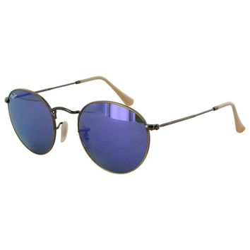 Ray Ban Womens Rb3447 Round Metal Frame Sunglasses Bronze Copper/violet Mirror