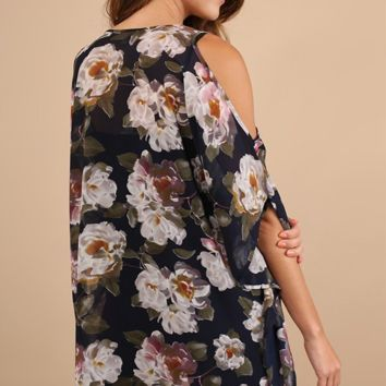 Floral Print V-Neck Tunic Navy