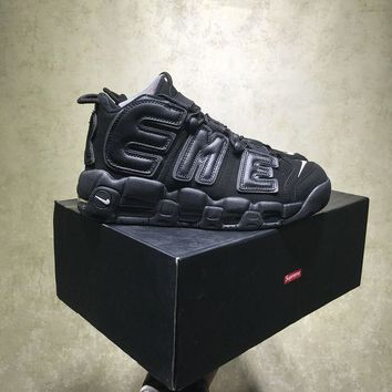 DCCKU62 Sale Supreme X Nike Air More Uptempo Retro Sport Baskerball All Black Sneaker 902290-001