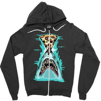 pizza shark graphic Zipper Hoodie