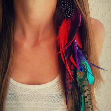 Best peacock feather clip products on wanelo long feather hair extension feather hair extension feather headdress bohemian pmusecretfo Images