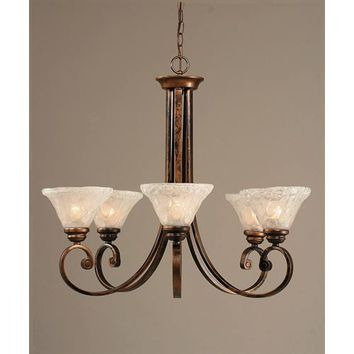 Toltec Lighting 255-BRZ-451 Curl Bronze Five-Light Chandelier with 7-Inch Italian Bubble Glass Shade