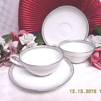 Silver Key by Noritake  China Dinnerware Pattern #5941 set 2 Cup and saucer