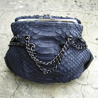 Charcoal Grey Flower Python Snakeskin Small Leather Shoulder Crossbody Chain Snap Closure Party Bag