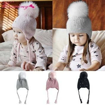 77f0bd07b8d Fashion Baby Hats with Pearl Winter Hat for Girls Kids Crochet B