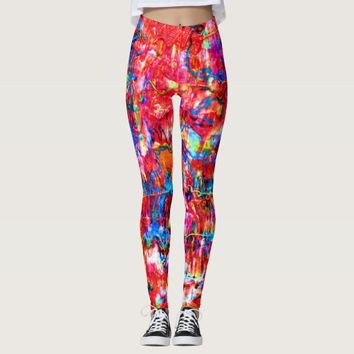 Cute multi colors abstract waves painting leggings
