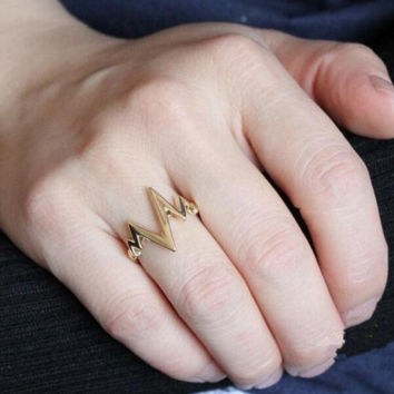 Unique Heartbeat Shape Rings Tail Ring AnaeCadeau Gift-212