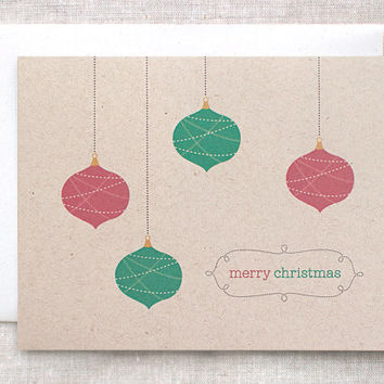 Christmas Card - Brown Recycled Card, Merry Christmas Card, Red and Green Ornaments