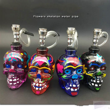 Arabia creative flower glass skull water pipe metal accessories bar soul house halloween decoration water filtration skull pipe
