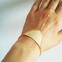 Gold Slave Bracelet / Hand Chain / Gold Finger Bracelet/ Minimalist Everyday Jewelry / B428