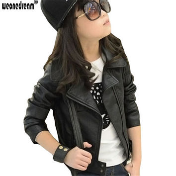 WEONEDREAM New Girl Leather Jacket Kids Girls Coats Spring Kids Faux Leather Jackets Girls Casual Black Solid Children Outerwear