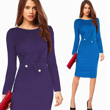 New Women Fashion Winter Dress workwear office dress sexy Long sleeve party dresses vestidos NB00514