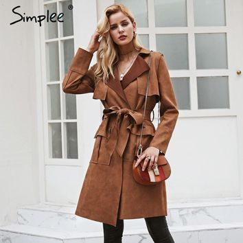 Simplee Turn down collar sash suede trench coat Casual leather pocket long women coat Winter warm outwear overcoat female