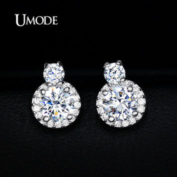 UMODE Small Piercing Earrings with Best CZ Stones Gourd Stud Earrings for Women Elegant Gift Lady Top Quality