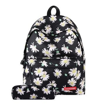 School Backpack trendy Hot Fresh Style Women Backpacks Floral Print Book bags Canvas Backpack School Bag For Girls Rucksack Female Travel Backpack AT_54_4