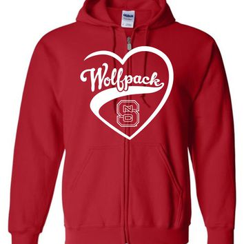 Official NCAA North Carolina State University Wolfpack NC State NCSU Heart Zip Hoodie - SC25nc