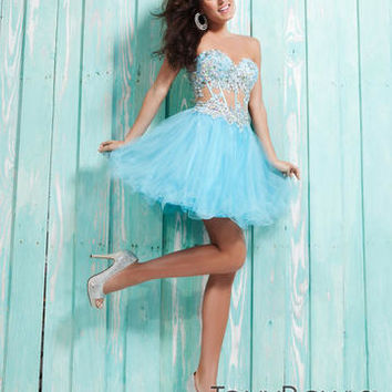 Homecoming Dresses - Tony Bowls Shorts TS21314 Sheer Bustier
