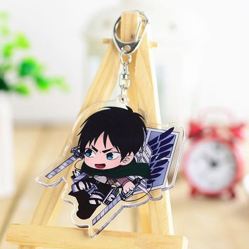 Cool Attack on Titan Anime  Cosplay Eren Jaeger king Keychain Men& women fashion personality birthday gift Key Chains Pendant AT_90_11