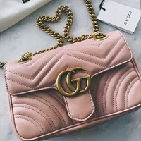 Gucci Women Fashion Chain Leather Crossbody Satchel Shoulder Bag Pink