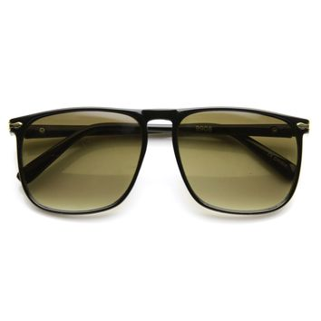 Vintage Inspired Dapper Flat Top Square Aviator Sunglasses 9484