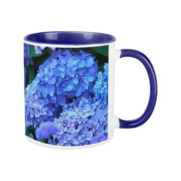 Blue Hydrangeas Floral Coffee Mug