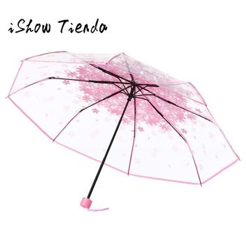 Transparent Clear Umbrella Cherry Blossom Mushroom Apollo Sakura 3 Fold Umbrella Paraguas Plegable Transparente #B0
